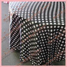 "Tablecloth 90"" Round Polka Dot Charmeuse 1 inch Circle Black / White"