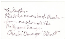 Charles Durango Starrett signed autographed index card! RARE! AMCo Authenticated