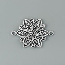 5 Antique Silver Hollow Filigree Flower Charms Pendant Jewelry Making Connectors