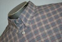 8519-a Mens Billy Reid Dress Shirt Red Blue Plaids Size 2XL Standard Cut