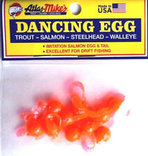 Dancing Egg, Imitation Salmon Egg with Tail, THREE Packs, Orange Glitter #42023