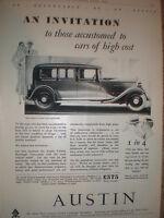 The Austin Twenty Ranelagh Limousine 1932 old car advert