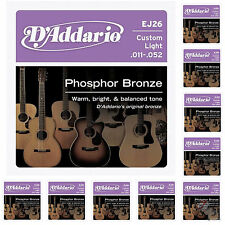 D'addario 10 Sets EJ26 Custom Light Acoustic Strings Phosphor Bronze 11-52 pack