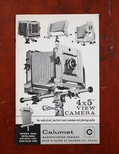 CALUMET 4X5 VIEW CAMERA SALES BROCHURE, 1964/cks/207417