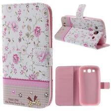 Schutz Tasche Hülle f Samsung Galaxy S3 i9300 NEO STRASS BLUMEN ROSA WEIß 46A