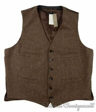 NWT - J. CREW Brown Herringbone MOON TWEED WOOL Button Mens Vest - LARGE