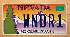 "MT CHARLESTON LAS VEGAS NEVADA VANITY LICENSE PLATE "" WNDR1 ""  WONDER WANDER"