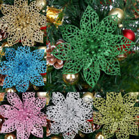Glitter Hollow Artificial Flower Xmas Tree Ornament Party Home Decoration Gift
