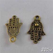 60x Antique Bronze Alloy Mechanical Palms Hamsa hand Charms Pendant Crafts 50663