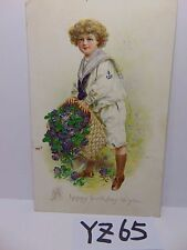 VINTAGE POSTED POSTCARD STAMP 1909 HAPPY BIRTHDAY GIRL-CHILD-NAVY OUTFIT UNIFORM