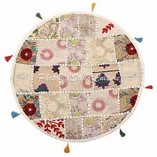"""22"""" Round Embroidered Patchwork Seat Cover Indian White Floor Cushion Cover"""