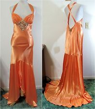 TERANI 10 Dress PROM Pageant Formal Evening Gown Orange Hi-Low Train NWT