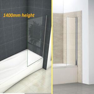 Fixed Bath Shower Screen Over Bath Square Cut 250 300 350 700 800x1400mm Height