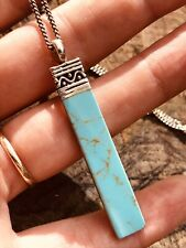 Sterling silver and turquoise pendant with silver chain