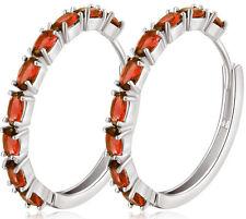 18K White Gold Pink Topaz Crystal Earrings Lady Engagement Party Hoop Earrings