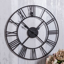 Black metal skeleton wall clock shabby retro chic feature hallway kitchen home