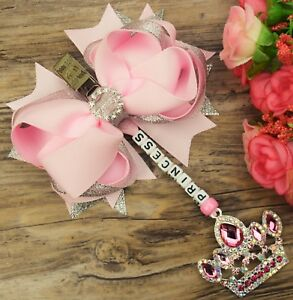 Personalised stunning pram charm in baby pink baby girls large 4.5 inch bow