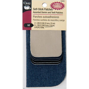 Dritz Self-Stick Patches 8/Pkg-Assorted Twill And Denim - 55285
