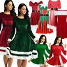 Women's Christmas Santa Skater Long Sleeve Swing Xmas Dress Evening Party Gown