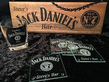 Personalised Jack Daniels Bar Kit - Sign, Set Of 4 Coaster & 1 Glass Fathers Day