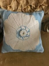 Blue Needlepoint Tapestry Pillow