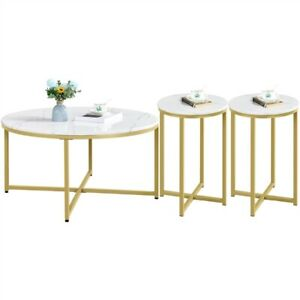 Marble Round Coffee Table & 2pcs Side Table,X-Based Set of 3 Living Room Table