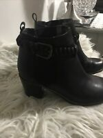 Sperry Top Sider Black Leather Pull On Block Heel Ankle Braided Boots Size 8M