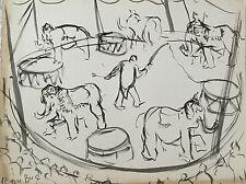 """DUBUC ROLAND """"LES ELEPHANTS AU CIRQUE"""""""