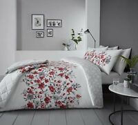 FLORAL WATERCOLOUR-STYLE RED COTTON BLEND SUPER KING DUVET COVER