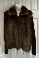 EUC Lisa International Brown Faux Fur Sweater Jacket Petite Large