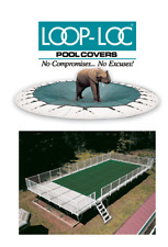 12'x24' On-Ground Loop-Loc Super Dense Mesh Safety Winter Pool Cover Green 15yr