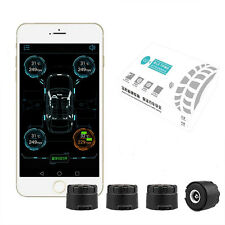 4 External Sensors BT4.0 TPMS Tire Pressure Alarm Monitor System For Android IOS
