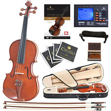 Cecilio CVN-200 Solid Wood Violin with Tuner, Lesson Book/Online Video, Size 3/4