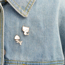 Enamel Pin Badges - Set of 2 - Cat and Fish Skeleton Bones - EB0046