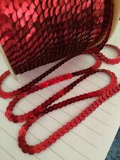 Sequin String Trim 6mm Christmas Red  x 3 Meters Metallic Flat Top Quality