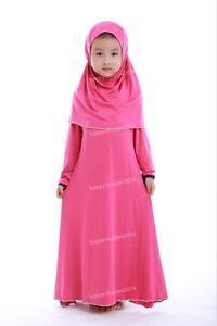 Muslim Girls Dress Hijab Childer Long Kaftan Arab Kids Islamic Maxi Abaya Jilbab