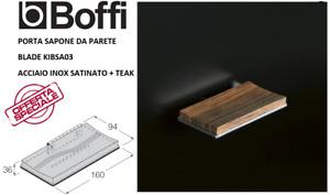 BOFFI PORTA SAPONE DA PARETE BLADE KIBSA 03 - ACCIAIO SATINATO + RIPIANO IN TEAK