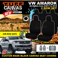 TUFF CANVAS BLACK Volkswagen Amarok Seat Covers 2ROWs TDI1300 Highline 2011-2018