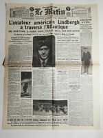 N471 La Une Du Journal Le Matin 22 mai 1927 Lindbergh traverse l'Atlantique