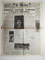 N471 La Une Du Journal Le Matin 22 mai 1927 Lindbergh traverse l'Atlantique