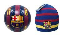 FC Barcelona Official Soccer Size 4 Ball & Beanie Combo 19-5