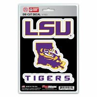 LSU Tigers Decals Die-Cut Auto Multi-use Stickers 3-Pack