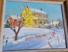 Oil Painting original signed Yellow House Winter Landscape with Frame