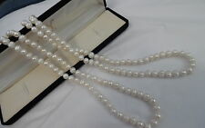 "NATURAL 46"" LONG FRESH WATER PEARL NECKLACE 7MM PEARLS"