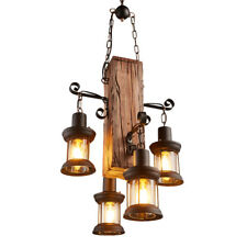 4 Heads Wood Chandelier Iron Ceiling Lamp Lighting Pendant Light Retro Fixtures