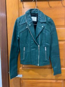 Riverisland Real Leather Green Motorbike Jacket sz 8
