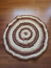 "Small 30"" Round Vintage Handmade Braided Rag Rug ~Country~Farm~ Cottage ~FREESH~"