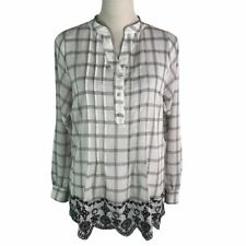Spade & Heart Plaid Floral Embroidered Scallop Hem Roll Up Sleeve Shirt Womens S