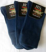 3 Paar Herren Sorbtek Bambus Socken ohne Gummi extra Softrand Jeansblau 39 - 46