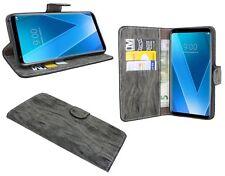 Anthrazite Wallet PU-Leder Schutzschale Hülle Tasche Etui Book für LG V30
